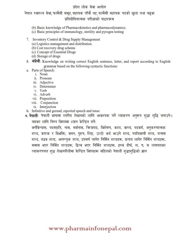 Pharmacy Loksewa Syllabus Bagamati Prdesh
