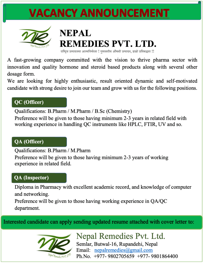 Vacancy Announcement Nepal Remedies Pharmaceuticals